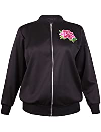 Womens Plus Size Floral Embroidered Ladies Long Sleeve Zip Bomber Jacket Top