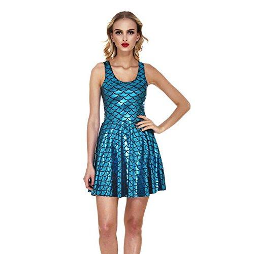 Zhuhaixmy Damen Reizvolle Nixe Colorful ärmellos Falten Behälter-Kleid Fischschuppen Kleid