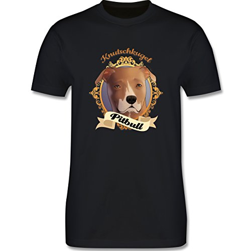Hunde - Pitbull - Knutschkugel - Herren Premium T-Shirt Schwarz
