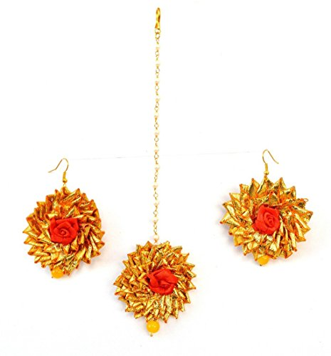 QUVYARTS Floret Jewellery Gota Patti Earrings and Maang Tika for Women (Orange)