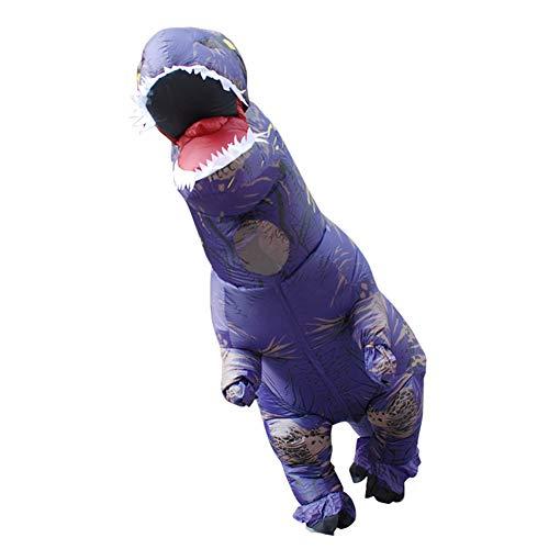 BOFEISI T-Rex Kostüm Erwachsene Aufblasbare Dinosaurier Halloween Cosplay 4,9-6,2 Fuß Wasserdicht Polyester Fancy Dinosaurier Kleid,Purple