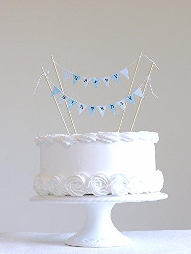 hen Deckel Set, Blau Pastell Kleine Fahnen mit 4 Bambus Sticks (Geburtstag-kuchen-deckel)