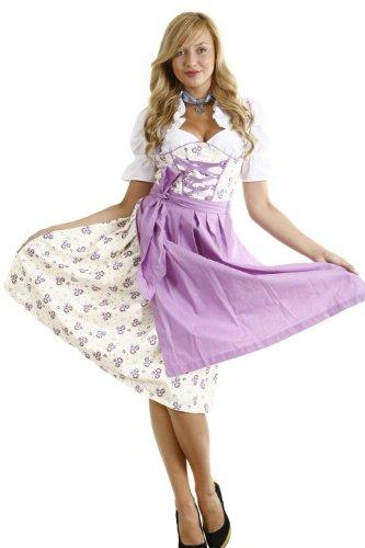 Dirndl Set lila weiss geblümt 3 tlg. Kleid, Bluse und Schürze (54, lila weiss geblümt)