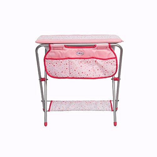 Table à langer 2 en 1 rose en métal pour poupée 38 cm (poupée et accessoires non inclus)