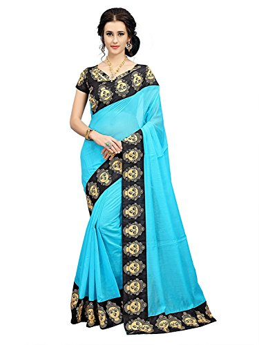Indian Beauty Women's Chanderi Cotton Print Border With Blouse Saree (LITE-BLUE)