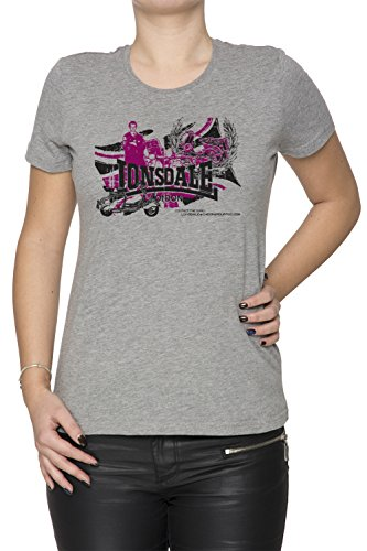 Lonsdale Donna T-shirt Grigio Cotone Girocollo Maniche Corte Grey Women's T-shirt
