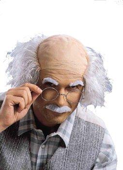 Opa Glatze Perücke mit Schnauzer und Augenbrauen (Rentner Kostüm)