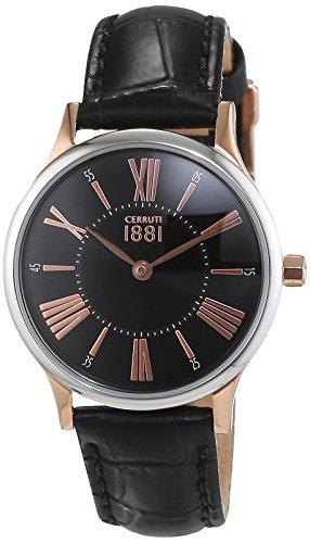 Cerruti 1881 - CRM099I222A - Montre Femme - Quartz - Analogique - Bracelet cuir noir