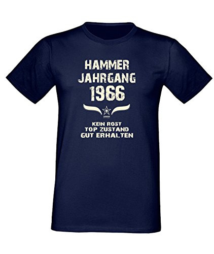 Geburtstags Fun T-Shirt Jubiläums-Geschenk zum 51. Geburtstag Hammer Jahrgang 1966 Farbe: schwarz blau rot grün braun auch in Übergrößen 3XL, 4XL, 5XL blau-01