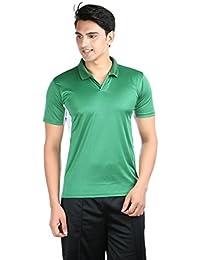 Illustre Green Solid Polyster Men's Sports T-Shirt