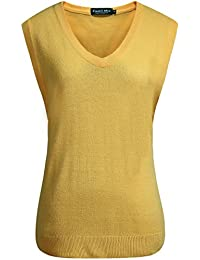 Camii Mia Chaleco de Jersey de Cuello V en Color Sólido para Mujer