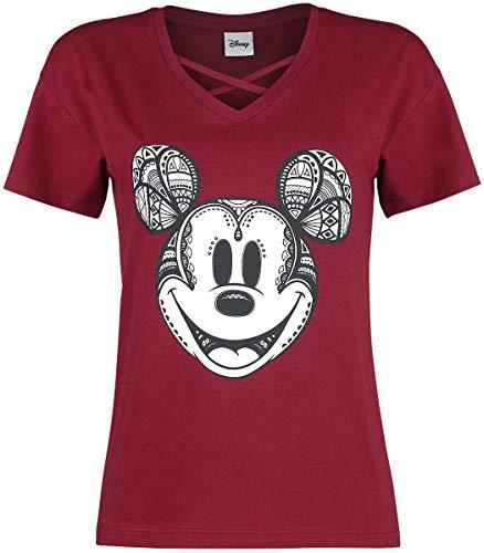 Micky Maus Ornamente T-Shirt Bordeaux XXL (Männer Mäusen Von)