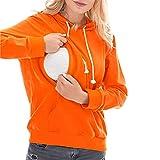 STRIR Camisetas Mujer Manga Larga Lactancia Maternidad Enfermeria Camisas,Camiseta de Mujer Maternidad de Doble Capa, premamá Lactancia Blusa de Manga Larga Lactancia Top (M, Naranja-2)