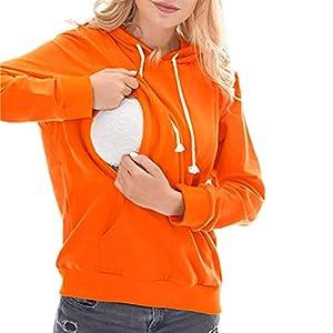 STRIR-Camisetas-Mujer-Manga-Larga-Lactancia-Maternidad-Enfermeria-CamisasCamiseta-de-Mujer-Maternidad-de-Doble-Capa-premam-Lactancia-Blusa-de-Manga-Larga-Lactancia-Top-XXL-Naranja-2