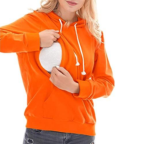 Sweatshirts Grossessee,Sweat Chapeau Maternité,Hoodie d'allaitement Brassière Pull Manches Longues Tee Tops Basique-Orange,M