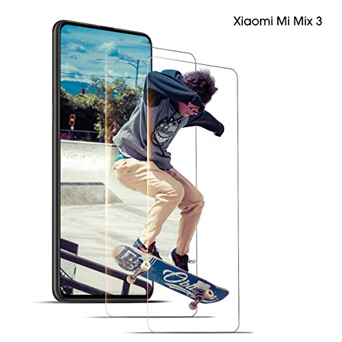 DONSTO Panzerglas Schutzfolie Kompatibel mit Xiaomi Mi Mix 3, Bildschirmschutzfolie [Case Friendly] [Ultra-Stärke] [Ultra-klare] [2 Stück], Xiaomi Mi Mix 3 Screen Protector 2.5D Arc Edge Film