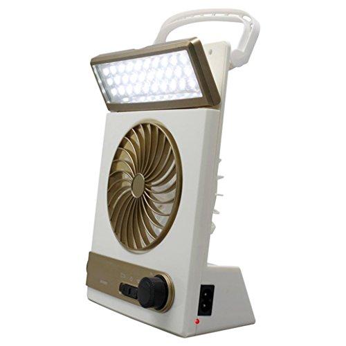 lamta1k Solar-Ventilator-Licht,Tragbare wiederaufladbare Solar-Notfall-Camping-Zelt Fan-Taschenlampen-Licht Laterne - Goldene