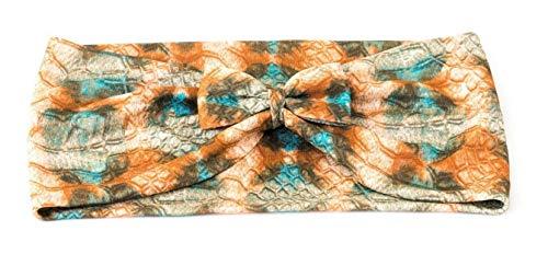 Stirnband mit Masche aus Viskose Stretch, Schlangen Muster Grün, Braun, Rost und Petrol, Einheitsgrösse