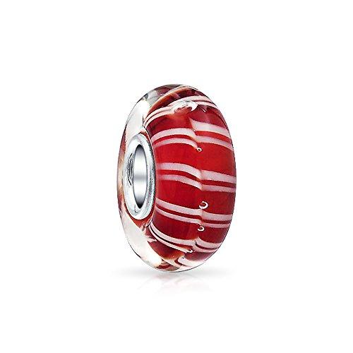Bling Jewelry Zuckerstange Stripe Murano Glas Die Perle Silber Distanzstück Passt Europäischen Charme Bracelet Für Damen Jugendlich