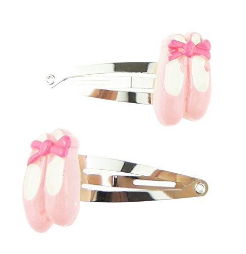 Mädchen Silber Ton Set 2Stück Hair Snap Pritties Accessories Haarklammer Clips Rosa Ballett Schuhe Ballet Shoes-bänder