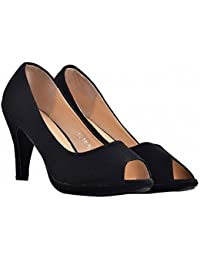 Shuberry Black Color Latest Collection, Comfortable & Fashionable Satin Casual Stiletto Shoe For Women