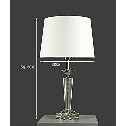 Global- Crystal Light Body luces decorativas E27 Tipo de tapa de tela Pantalla Lámpara de mesa moderna simple de la sala de estar dormitorio lámpara de cabecera ( Tamaño : L