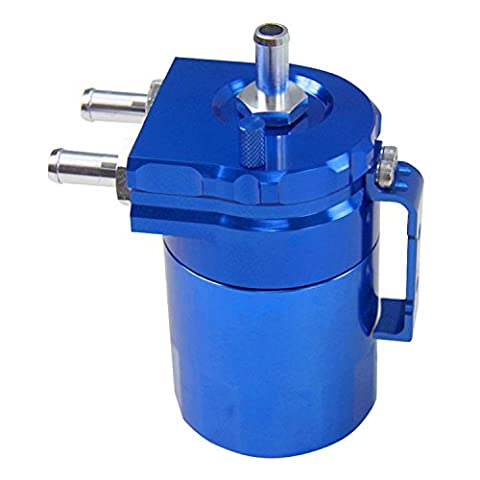 Primecooling Billet Aluminum Oil Catch Tank Can Reservoir Tank Universal Blue Round +Hose