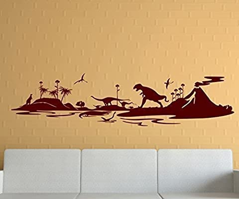 Wall Decal XXL Skyline Dino Volcanoes Dinosaur TRex Wall Stickers Earth 1M042 - Dark Green Matt,