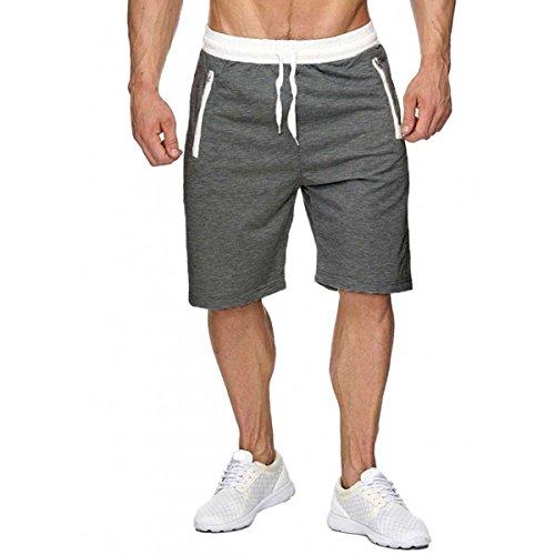 INCERUN Herren Shorts Sport Kurze Joggingshose Trainingshose Sommer Fitness Hose Dunkelgrau L