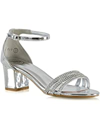 Donna Diamante Scarpe Sandalo Tacco Medio Caviglia Aperti sul Retro OCCASIONE tacco basso