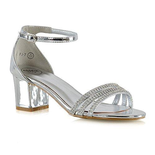 ESSEX GLAM Damen Fesselriemen Sandalen Frau Silber Metallisch Niedrige Ferse Diamant Schuhe EU 37 (Silber Niedrigen Ferse)