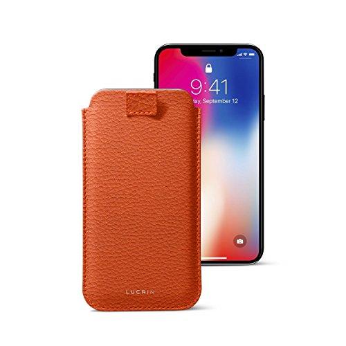 Lucrin - Custodia per iPhone X con linguetta - Nero - Pelle Ruvida Arancione