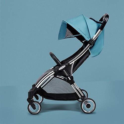 Velliceasay Multi Funktionen Kombinierter Kinderwagen,Leichte zusammenklappbare Markise mit einem Knopf für 0-36 Monate,Blauer silberner Rahmen