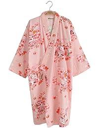 Black Temptation Falda de Kimono de Pijama de Albornoz de algodón de Estilo japonés para Mujeres