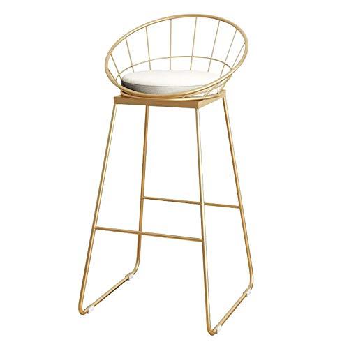 Wanlianer-Home Nordic Schmiedeeisenstuhl Barhocker Bar/Coffee Bar Barstuhl/Empfangsstuhl/Hochhocker/Bürostuhl Informell 95 * 44 cm (Farbe: Gold) Pub Küchentheke (Farbe : Gold, Größe : L)