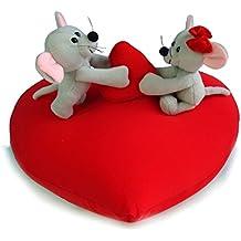 Ratitas jugetonas de peluche sobre corazón (40 cm)