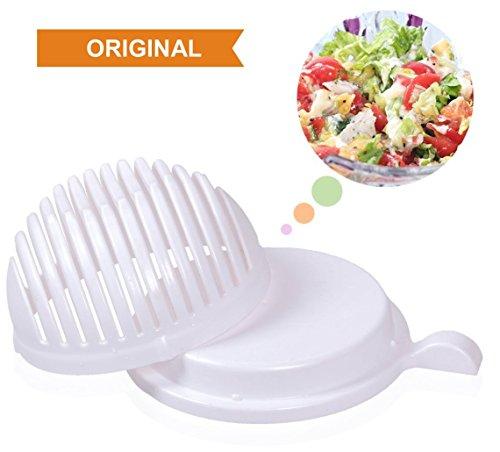 ZADAWERK® Salat Schneiden Gemüse Obst Schüssel 60 Sekunden Messer Schneidemesser Salatschneiderschale Salat-schneider Gemüseschneider Obstschneider Fertig in nur 60 Sekunden Salat Maker Magic Salad Maker