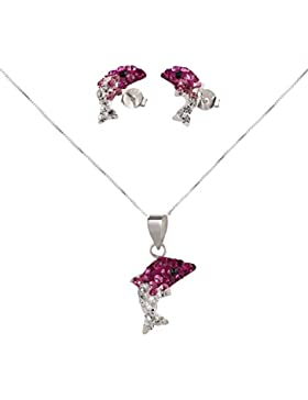 SL-Silver Set Anhänger Kette Ohrringe Kinderohrrige Delfin pink 925 Silber
