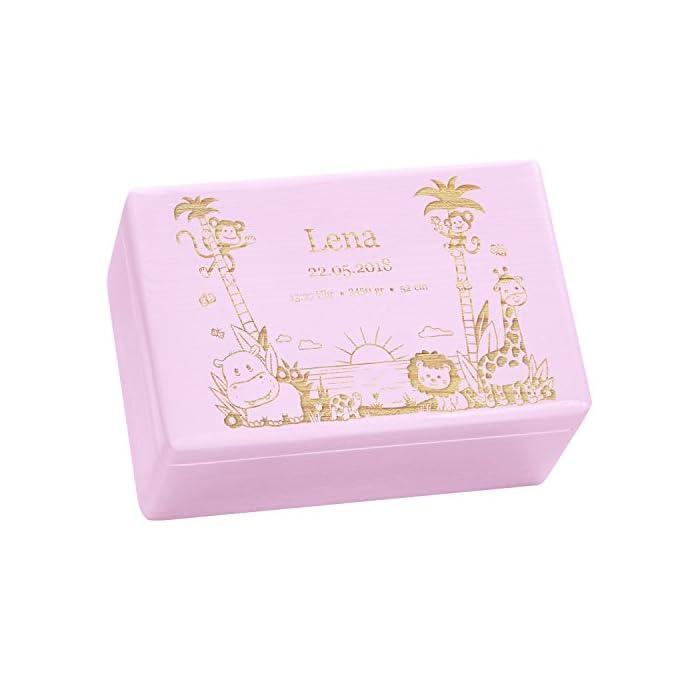 Holzkiste mit Gravur - Personalisiert mit ❤ GEBURTSDATEN ❤ - Rosa, Größe M - Dschungel Motiv - Erinnerungskiste als…