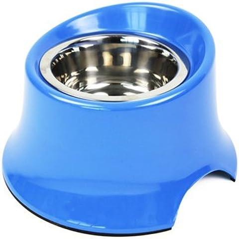 Dog Bowl golden rtvr Samoa bacino del cane cane grande ciotola cane bacino alimentare in acciaio inox ciotola pet ad alta ciotole di riso bocce, erba-blu ,S- Caricare 150G FAO per meno di 15kg