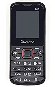 Diamond D10 Chinese Mobile Phone Black Red with Dual Sim FM Camera Torch Light Games Super Speaker