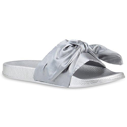 Damen Pantoletten Blumen Sandalen Strass Sommer Schuhe Silber Schleife Avion