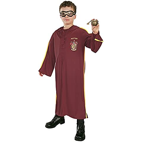 Harry Potter Quidditch Costume, Una dimensione, 7-10 anni. Occhiali, accappatoio con cappuccio e quidditch dorato.