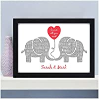 Kissing Elephants Personalised Christmas, Birthday, Valentines Gifts for Couples, Her, Him, Husband, Wife, Girlfriend, Boyfriend, Partner - Keepsake Elephant Couple Gifts - PERSONALISED with TWO NAMES