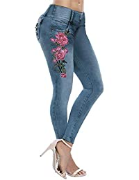 eeece7f0392 Fabal-Clothing Women s Fashion Stretch Jeans Female Large Size High Elastic  Embroidered Jeans Feet Pants