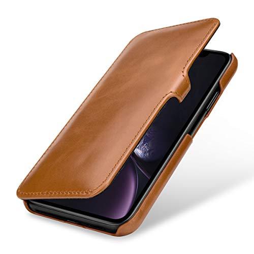 StilGut Schutz-Hülle kompatibel mit iPhone XR Book Type aus Echtleder, Cognac mit Clip