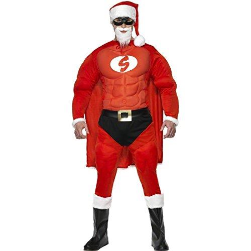 Weihnachtsmann Kostüm Super Santa Muskelkostüm L 52/54 Weihnachtsmannkostüm Weihnachtskostüm Superheld Santaclaus (Super Santa Kostüm)
