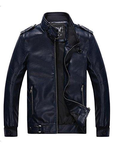 Vogstyle Hommes Veste Fit Basic Biker Cuir Style-9 Rouge