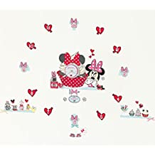 Disney Minnie Mouse Tell the Time with Me - Reloj adhesivo para pared