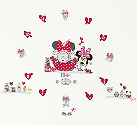 Minnie Mouse Tell the Time with Me Wall Clock Wall Sticker, Pink